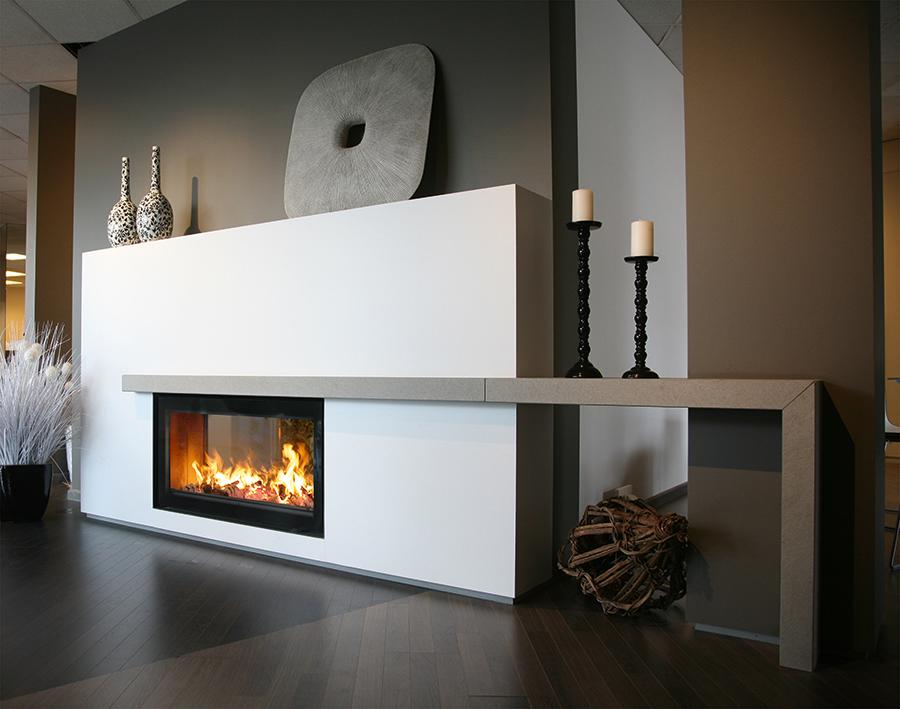 Inserts bois large vision du feu porte relevable # Poele A Bois Design Double Face